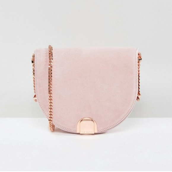 e9f6155315a94d Ted Baker half moon bag in nude pink suede